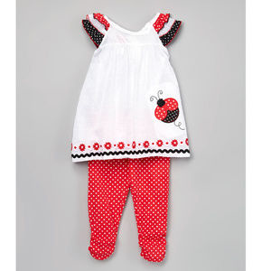 NWT Nannette Ladybug Tunic Leggings Girls Outfit